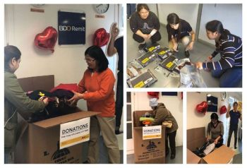 SPAIN. Members of the Filipino community in Barcelona do their part in donating in kind to the victims of the Taal eruption, as facilitated by BDO Remit Spain. (Contributed photo)
