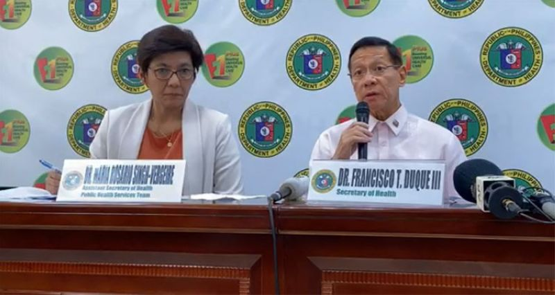 MANILA. Department of Health Secretary Francisco Duque III (right) and Assistant Secretary Maria Rosario Vergeire in a press briefing Wednesday, March 4, 2020. (Screenshot from DOH video)