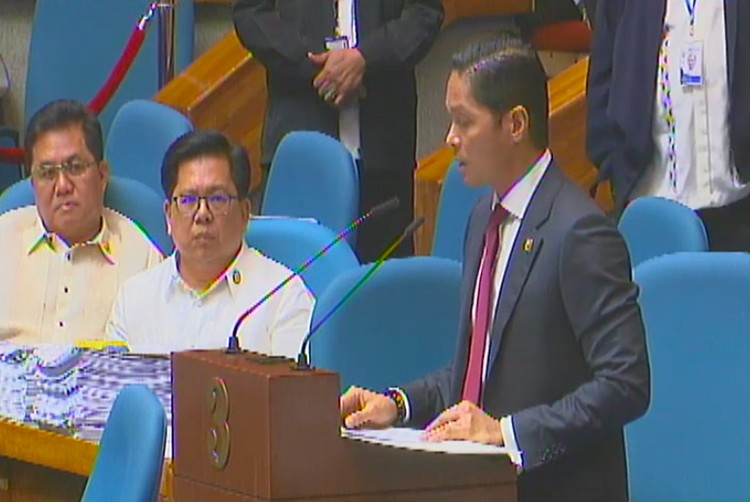 MANILA. Cebu 5th District Representative Vincent Franco Frasco gives a privilege speech at the House of Representatives on March 4, 2020. (Photo grabbed from HRep video)