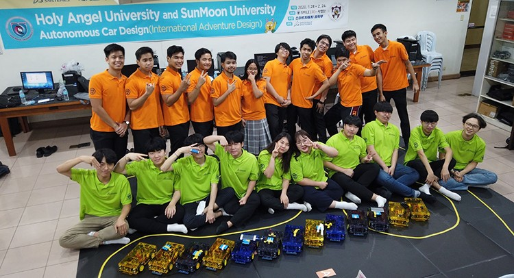 PAMPANGA. Twelve students from Holy Angel University School of Computing in Angeles City and 11 students from Korea's SunMoon University Smart Vehicle Engineering on February 17 to 21, 2020 collaborated and built self driving cars or the autonomous vehicle platform. (Contributed photo)