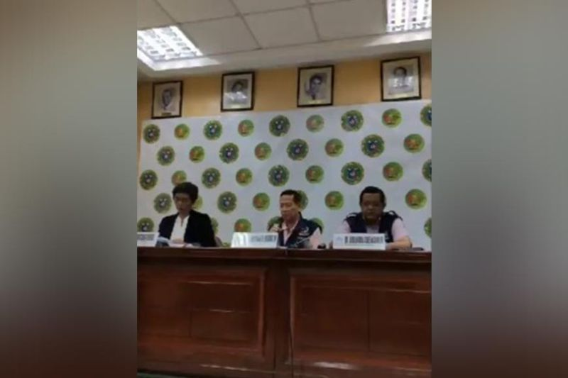 MANILA. Department of Health officials raised Code Red sub-level 1 as local transmission was confirmed through the sixth Covid-19 case in the Philippines. (Screen grab from DOH press conference)
