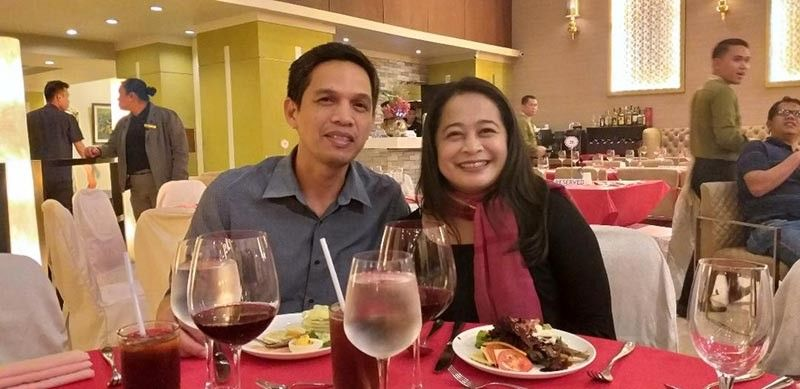 DAVAO. The writer with her husband in a date at Valentine's Acoustic Night at The Royal Mandaya Hotel. (Photo by Marianne L. Saberon-Abalayan)