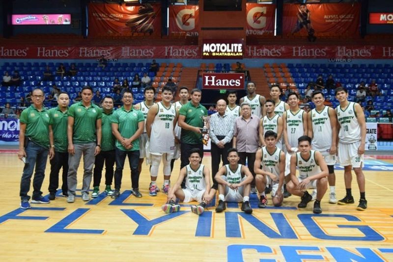 The UV Green Lancers receive the third place trophy after whooping the UP Fighting Maroons, 93-63. / PCCL