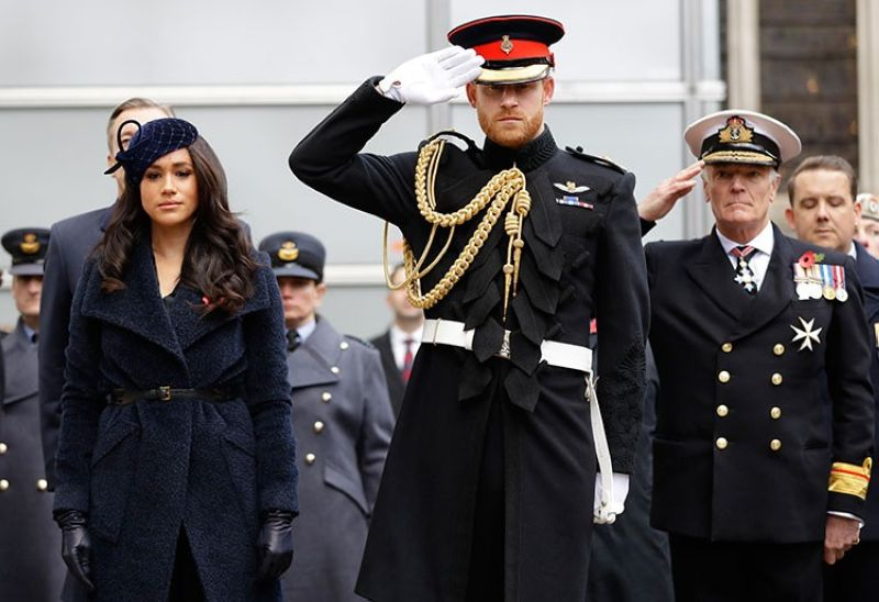 LONDON. In this Thursday, November 7, 2019 file photo, Britain's Prince Harry and Meghan, the Duchess of Sussex, attend the 91st Field of Remembrance at Westminster Abbey in London. Prince Harry and his wife, Meghan, are fulfilling their last royal commitment Monday March 9, 2020 when they appear at the annual Commonwealth Service at Westminster Abbey. (AP)
