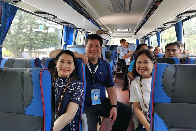 NEGROS. Mayor Golez with Mrs. Dominique L. Benitez, President of the NIKKI Cares Foundation and Board member Juvy Pepillo on board the new bus of Silay City Government. (Photo by Carla N. Cañet)