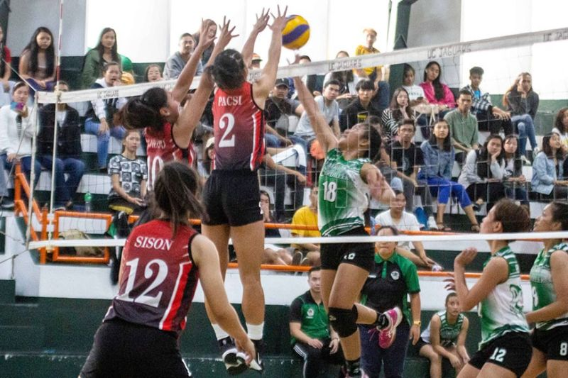 BAGUIO. Baguio-Benguet Educational Athletic League (BBEAL) contenders University of Baguio Lady Cardinals and University of the Cordilleras Lady Jaguars battled for five feisty sets with the Lady Cardinals emerging victorious in the ongoing women's volleyball contest. (Photo by Jean Nicole Cortes)