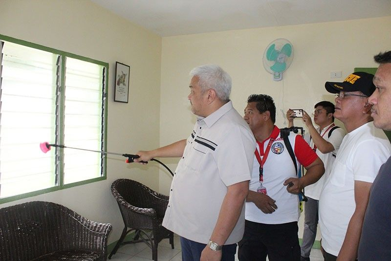 PAMPANGA. Mayor Carmelo Lazatin Jr. led the disinfection protocol of public schools in the city on March 12, 2020 as part of the Angeles City government's preventive measures amid the rising spread of the coronavirus disease. (Photo by AC-CIO)