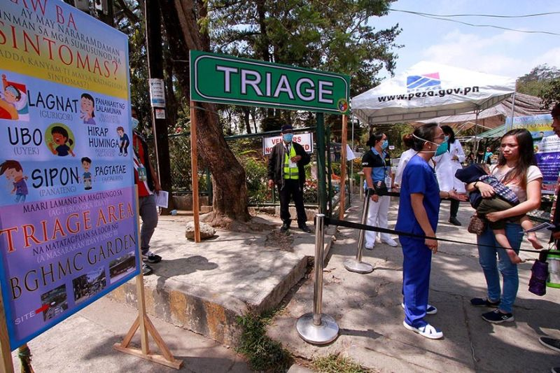 BAGUIO. Tertiary hospitals in Baguio City establish triage areas in their hospital areas to minimize exposure to Covid-19. Baguio General Hospital is limiting admittance and preparing the medical center to strictly respond to Covid-19 cases. (JJ Landingin)