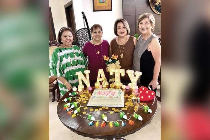 BIRTHDAY HONOREE. Naty Bernardino (third from left) and wellwishers, from left, Angie Unchuan, Dr. Mila Tolentino and Dr. Mila Chan.