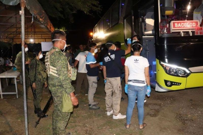 BACOLOD. The Army and other members of the Task Force provide support in performing security protocols in checkpoint areas in Negros Occidental. (Contributed Photo)
