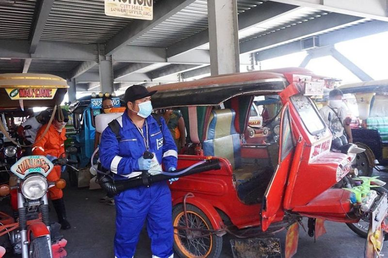 CEBU. Around 300 tricycles were disinfected by the Covid-19 Task Force of Talisay City at a terminal in Barangay Tabunok, Talisay City. (Photo courtesy of City of Talisay PIO)