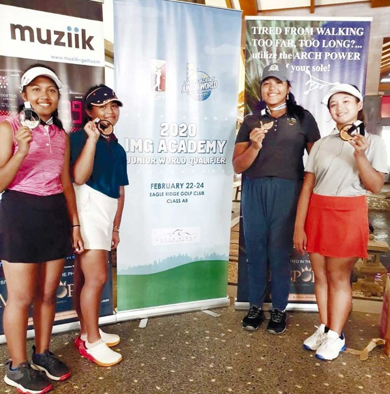 BACK-TO-BACK. Cebu Country Club's Grace Pauline Quintanilla (second from right) made it to the IMG Academy Junior World Championship in San Diego, California for the second straight year. (CONTRIBUTED FOTO)