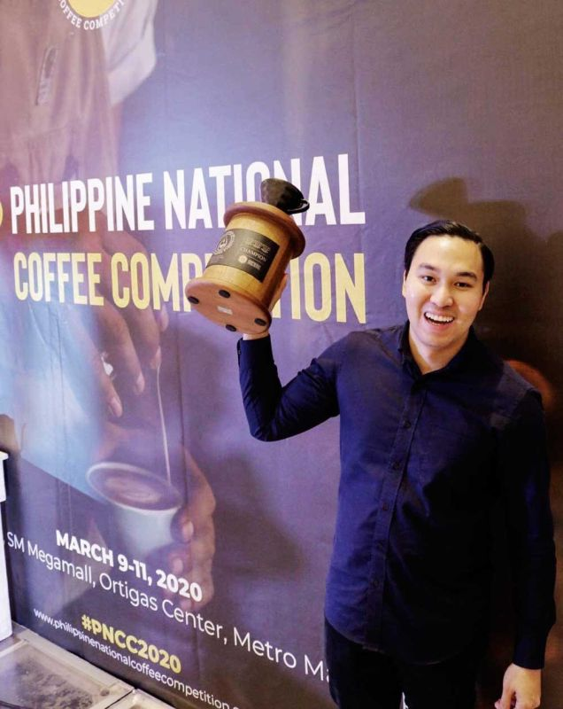 SWEET VICTORY Coffee entrepreneur Gio Visitacion wins The Philippine Brewers Cup Competition on March 9 to 11, 2020 at the SM Megamall in Metro Manila. He says hard work is the key to winning the competition. (Contributed foto)