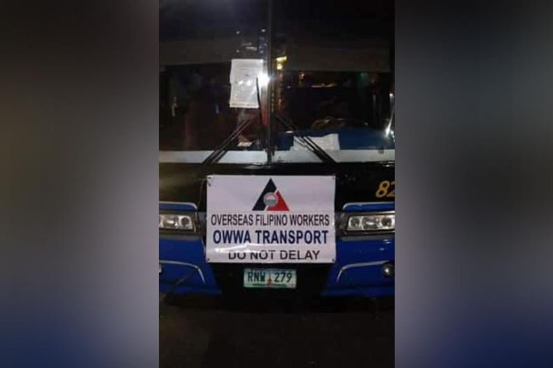 The bus carrying overseas Filipino workers who arrived in Clark International Airport were transferred to the Dau Bus Terminal in Mabalacat City. (Contributed photo)