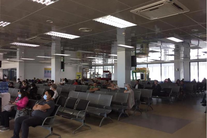 MISAMIS ORIENTAL. Foreigners wait for their flight to take them back home after being stranded in Laguindingan airport for days. As of Thursday afternoon, the foreign nationals left the airport through two sweeper flights approved by the Department of Tourism. (Contributed photo)
