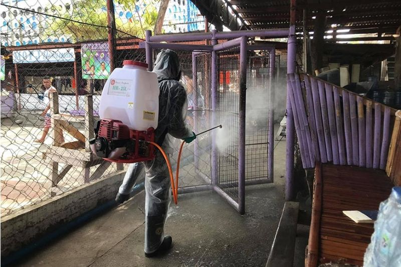 MISAMIS ORIENTAL. A health personnel disinfects the Capitol-run Misamis Oriental Provincial Jail to protect its inmates from the deadly coronavirus disease. (Contributed photo)
