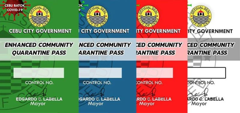CEBU. Four types of quarantine passes set to be distributed by the Cebu City Government. (Images from Mayor Edgar Labella's Facebook page)
