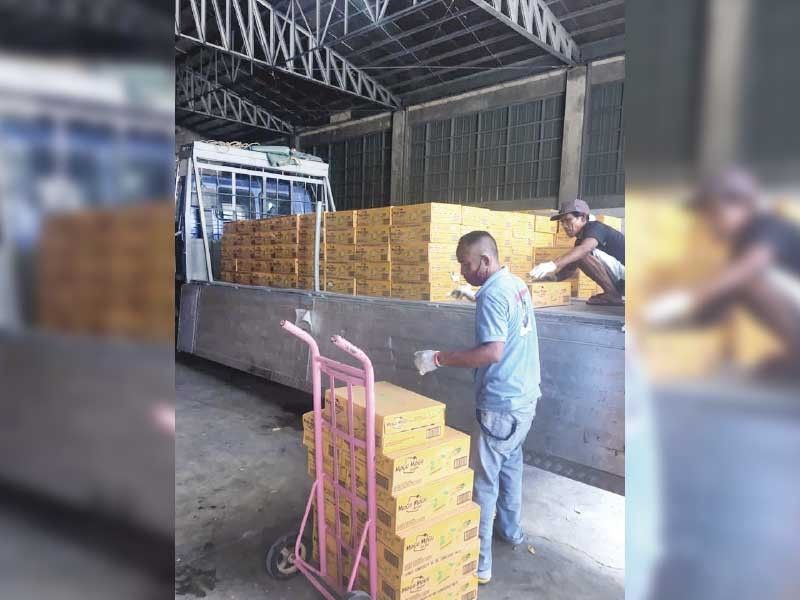 HELP FOR FRONT-LINERS. Runners Annie Penaroya and Maria Joy Laguna (not in photo) help distribute 400 boxes of Mogu-Mogu products to the frontliners in Cordova, Lapu-Lapu City, Cebu City and Mandaue City. Contributed Photo