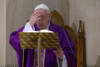 VATICAN. Pope Francis celebrates Mass at his Santa Marta residence, at the Vatican, Friday, March 27, 2020. The new coronavirus causes mild or moderate symptoms for most people, but for some, especially older adults and people with existing health problems, it can cause more severe illness or death. (Vatican News via AP)