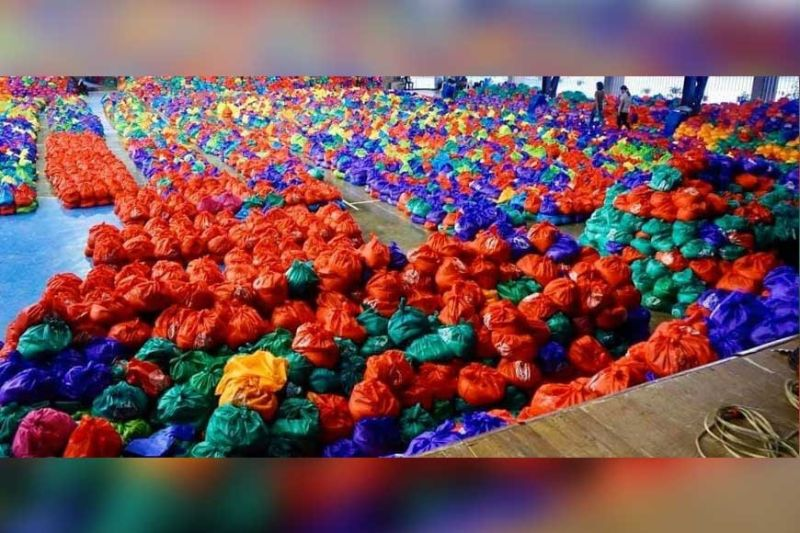 BACOLOD. These are the 40,000 multicolored food packs that started to get into the homes of the poorest or poor in Bacolod City. (Bacolod City PIO)