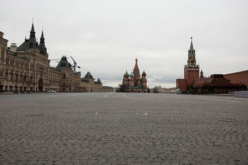 RUSSIA. A view of an empty Red square, with the St. Basil's Cathedral (center), and Kremlin's Spasskaya Tower (right) in Moscow, Russia, Monday, March 30, 2020. (AP)