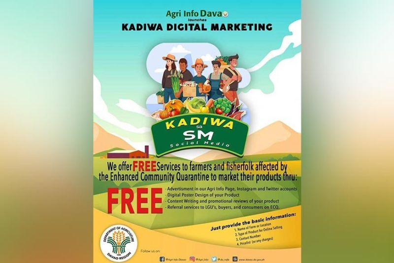 Promotional poster of the Kadiwa Digital Marketing initiative of the Department of Agriculture in Davao Region (DA-Davao).