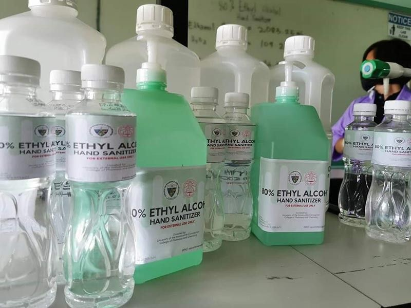As their way to support those working in the frontline at the Southern Philippines Medical Center, the University of Immaculate Conception made hand sanitizers for them. (CONTRIBUTED PHOTO)