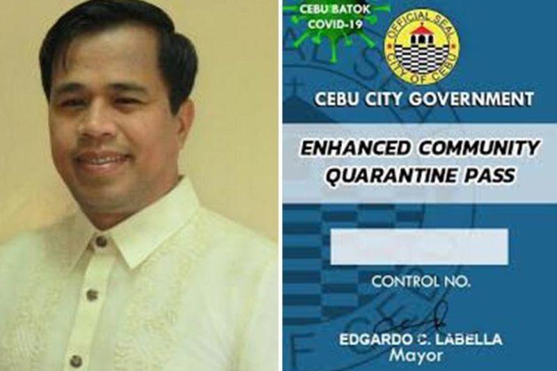 (Photo of Cebu City Councilor Alvin Dizon and generic image of Cebu City ECQ pass)