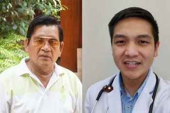 PAG-AMPO. Si Dr. Francis Daclan (tuo) nagtuo nga milagro ang pagkabuhi sa iyang amahan nga si Porferio (wala), 70, gikan sa coronavirus disease (COVID-19). Si Porferio na-discharge sa University of Cebu Medical Center (UCMed) human sa 17 ka adlaw sukad na-admit. (Tampo ni Dr. Francis Daclan)