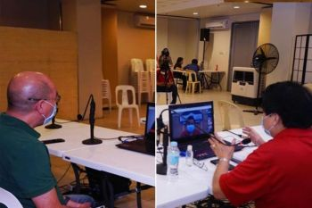 PRESSCON. Mayor Evelio Leonardia (right) and Vice Mayor El Cid Familiaran (left) hold a press conference via video conferencing, from the Bacolod City Government Center Monday, April 6. (Contributed photo)