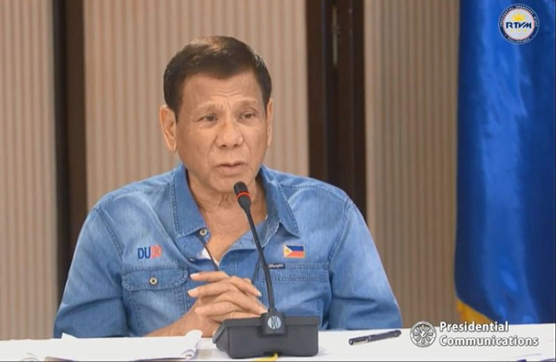 MANILA. President Rodrigo Duterte presides over the Inter-Agency Task Force for the Management of Emerging Infectious Diseases with several Cabinet members on Monday, April 13, 2020, to discuss the government's efforts in mitigating the effects of Covid-19 in the country. (Screenshot from RTVM video)