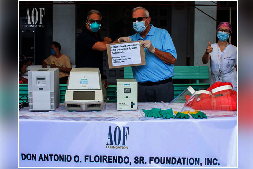 DAVAO. Anthony B. Sasin, board member of Anflocor, personally hands over the Polymerase Chain Reaction (PCR) machine and the personal protective equipment (PPE) to SPMC's Medical Chief, Dr. Leopoldo Vega. (Contributed photo)