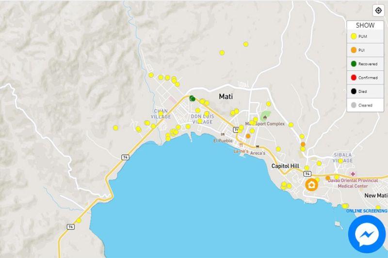 Screenshot from Covid-19 Heat Map app in Mati City.