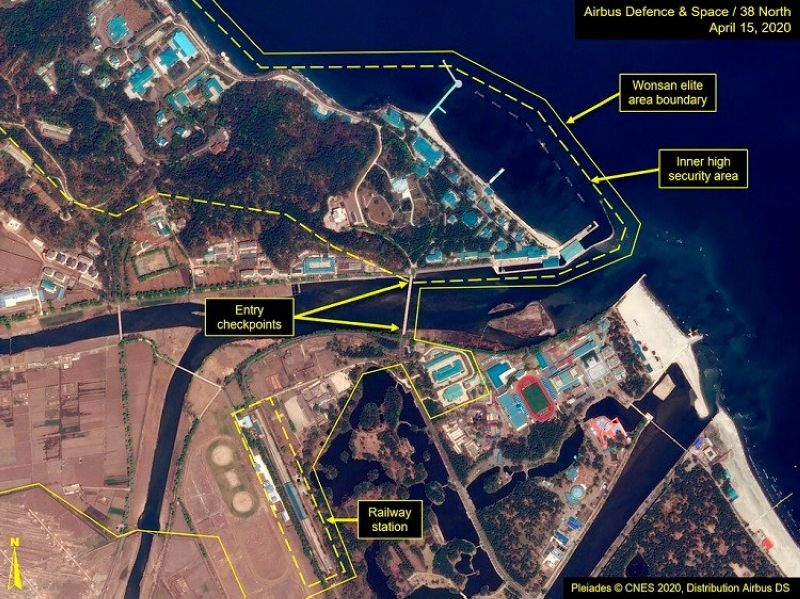 KIM SPOTTED? This Wednesday, April 15, 2020, satellite image provided by Airbus Defence & Space and annotated by 38 North, a website specializing in North Korea studies, shows overview of Wonsan complex in Wonsan, North Korea. Recent satellite photos show a train probably belonging to North Korean leader Kim Jong Un has been spotted on the country's east coast amid mounting speculation about his health. (Airbus Defence & Space and 38 North, Pleiades©CNES 2020, Distribution Airbus DS via AP)