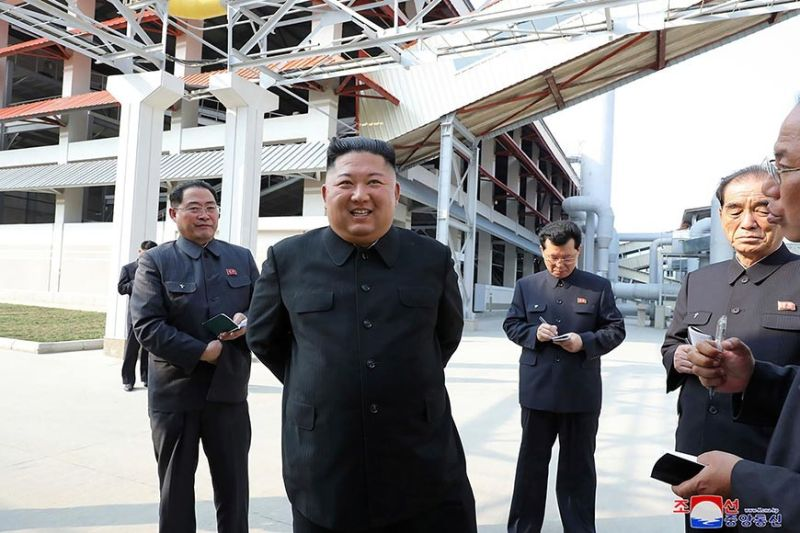 NORTH KOREA. In this Friday, May 1, 2020, photo provided by the North Korean government, North Korean leader Kim Jong Un, center, visits a fertilizer factory in Sunchon, South Pyongan province, near Pyongyang, North Korea. Kim made his first public appearance in 20 days as he celebrated the completion of the fertilizer factory, state media said Saturday, May 2, 2020, ending an absence that had triggered global rumors that he may be seriously ill. Independent journalists were not given access to cover the event depicted in this image distributed by the North Korean government. The content of this image is as provided and cannot be independently verified. Korean language watermark on image as provided by source reads: