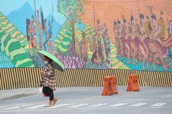 BAGUIO. The Pamana mural painting along Naguilian Road serves as a reminder of Baguio City's celebrated art scene as artist and artisans in the Summer Capital now scramble for help amid the Covid–19 pandemic. (Photo by Jean Nicole Cortes)