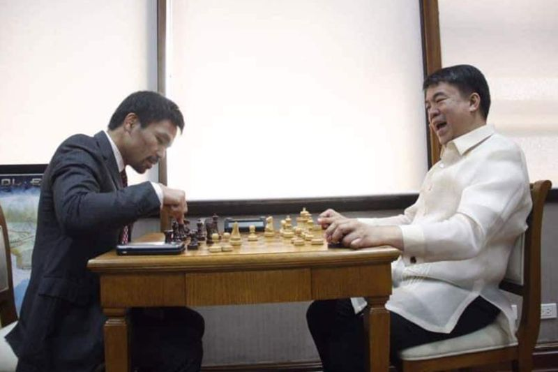 CAGAYAN DE ORO. Senators Koko Pimentel and Manny Pacquiao during one of their friendly chess matches. (Contributed photo)