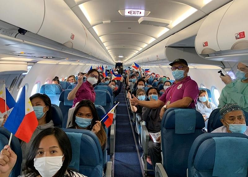 BAGUIO. With the help of OFW Watch Italy, Task Force Covid-19 and the Department of Foreign Affairs, 82 Filipinos were repatriated from Italy on board a Philippine Airlines flight. (Contributed photo)