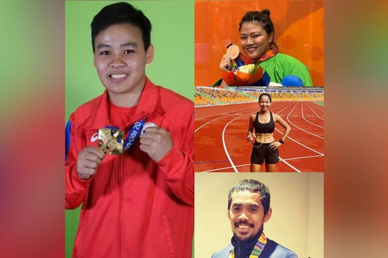 ELITE ATHLETES. Filipino national athletes Nesthy Petecio (boxing), Sydney Sy Tancontian (sambo/kurash), Mary Joy Tabal (marathon) and Nathaniel Sanchez (obstacle course racing) back the decision of Philippine Sports Commission (PSC) Chairman William I. Ramirez in canceling all sports programs until December to abide by national government guidelines prohibiting mass gathering amid the coronavirus disease (Covid-19) pandemic. (Contributed photo)