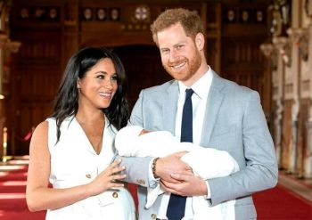 ENGLAND. In this Wednesday May 8, 2019 file photo, Britain's Prince Harry and Meghan, Duchess of Sussex, during a photocall with their newborn son Archie, in St George's Hall at Windsor Castle, Windsor, south England. (AP)