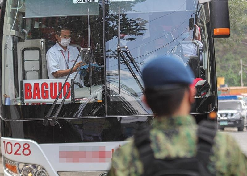 BAGUIO. Even with the easing of travel in the city, provincial bound buses to other parts of Luzon are not yet allowed to operate while those plying the Mountain Province, Kalinga, and Apayao routes are still being studied by the city government if fit for operation. (Photo by Jean Nicole Cortes)