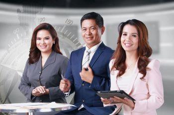 NEWS ANCHORS: Ang news achors nga sila si (gikan sa wala) Cecille Quibod-Castro, Alan Domingo, ug Lou Anne Mae Rondina sa GMA Regional TV's flagship local newscast sa Central ug Eastern Visayas. / Tampo