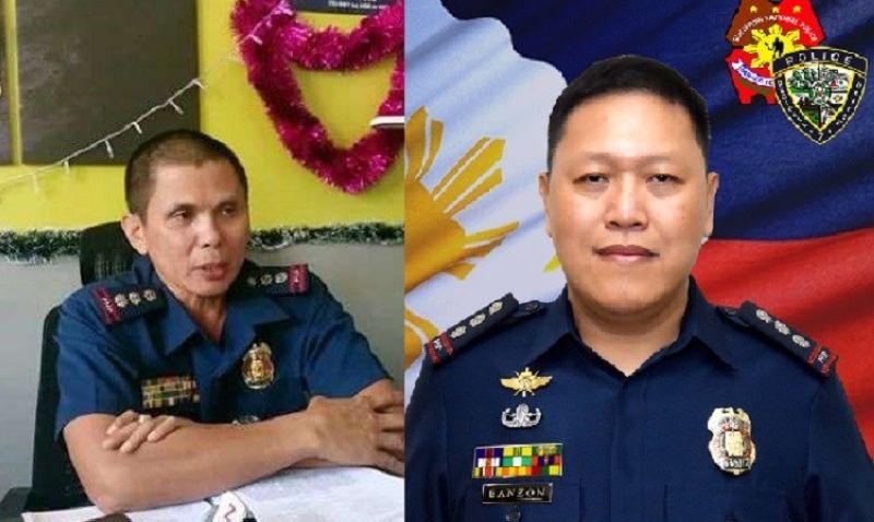 HULIP: Si Police Colonel Julian Entoma (wala), gihulipan isip director sa Negros Oriental Police Provincial Office (NOPPO) ni Police Colonel Arnel Banzon sugod sa Mayo 28, 2020. (File Photo, Tampo)