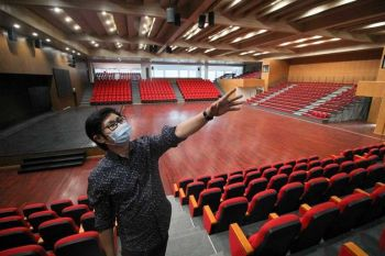 BAGUIO. Baguio City Tourism Officer, Alec Mapalo shows off the new Baguio Convention Center ready to take in events when the city is ready to open its doors. (Photo by Jean Nicole Cortes)