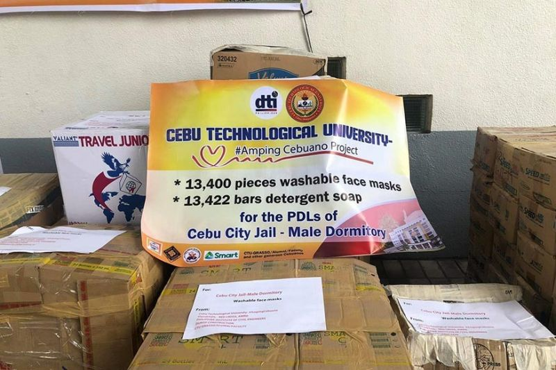 LOFTY GOALS. The aim of the Cebu Technological University and its partners is to provide all inmates with masks and soap. (Contributed photo, CTU)