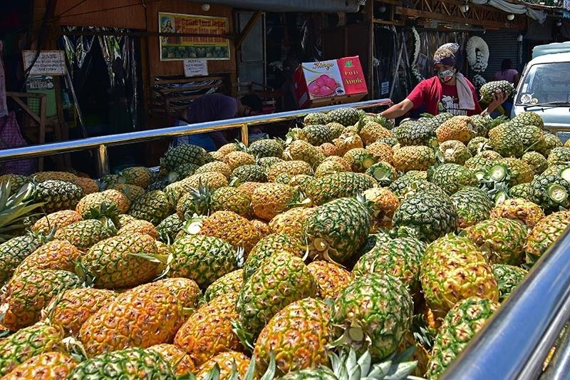 DAVAO. A man sorts the pineapple from a newly-delivered batch of pineapple at the back of a truck at Bankerohan Public Market in Davao City. Health experts  remind the public to boost their immune system by eating a balanced diet and fruits rich in vitamin C. (Photo by Macky Lim)