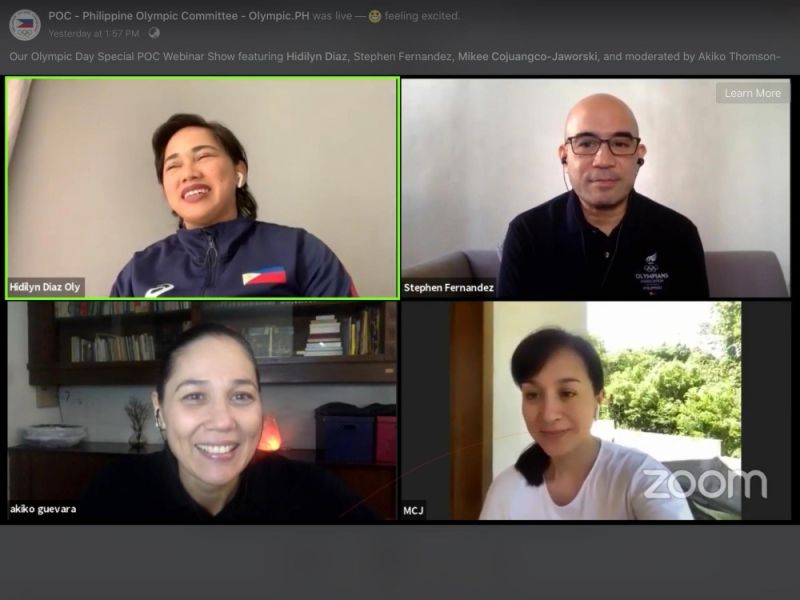 DAVAO. Hidilyn Diaz shares her Olympic journey as an athlete during the Philippine Olympic Committee (POC) Webinar Series: Olympic Day Special aired live via POC Facebook Page on Monday afternoon, June 29, 2020. (Marianne L. Saberon-Abalayan)