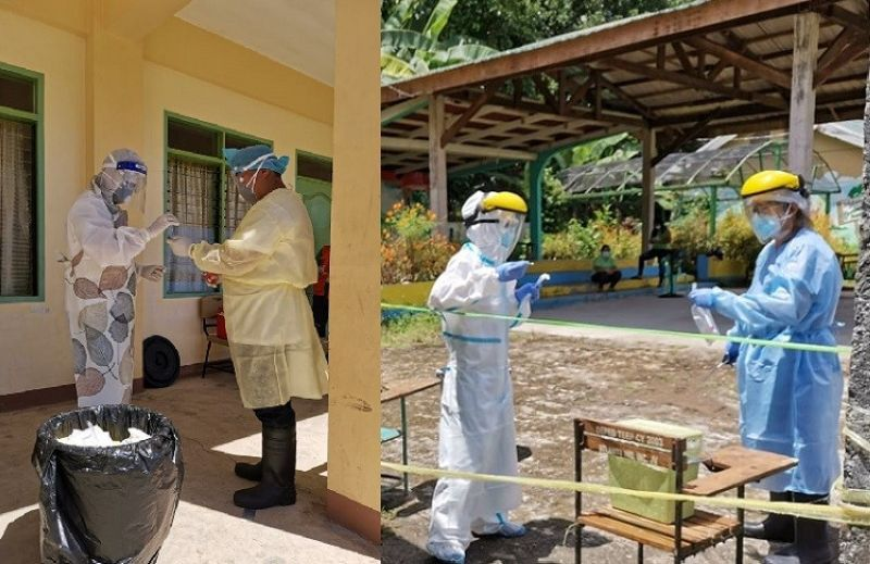 SOUTHERN LEYTE. Health workers in their full personal protective equipment during their routine check for Covid-19 cases in a quarantine facility in Libagon, Southern Leyte. (Photo courtesy of Rural Health Unit of Libagon)