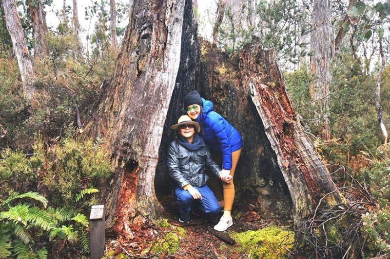 TASMANIA. Grace Avanzado  and husband Dr. Vicente Avanzado  in one of the national parks  at the World Heritage.