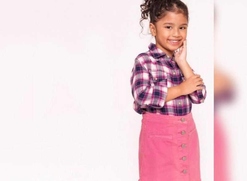 Fun plaid rolled up long-sleeves button down top matched with a pink skirt for girls.